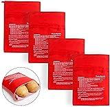 Sacchetto per Patate Microonde, BESTZY 4 Pezzi Potato Express Bag Lavabili Riutilizzabili Microonde Patate Bag in Microonde Patate Ideale Solo in 4 Minuti, 3 x 20 x 25 cm (Rosso)