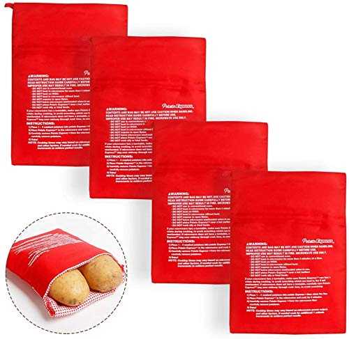 4 Stück Mikrowellen Kartoffelbeutel, Wiederverwendbarer Mikrowelle Kartoffeln Tasche in nur 4 Minuten Kartoffelbeutel Express Tasche Backen Werkzeug, Rot, 3 x 20 x 25 cm