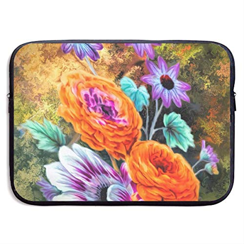 JKOVE Borsa per PC Portatile,Printed Flower Art Painting Colourful Abstract Ultrabook Briefcase Sleeve Bags Cover for MacBook Pro/Acer/Asus/Lenovo Dell