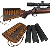 Rifle Buttstock Ammo Holder, Cowhide Leather Canvas Gun Cheek Rest Pad Protector 30-06, 308, 300 Win mag (Dark Brown)