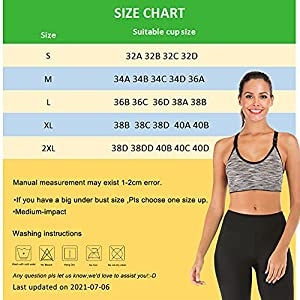 YEYELE Women 5 Pack Adjustable Strap and Removable Pad Tank Top Racerback Sports Bra,5 Pack(blue+red+green+purple+gray),XL(40E 42A 42B 42C 42D 42E 42F)