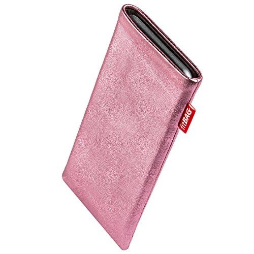 fitBAG Groove Pink Handytasche Tasche aus feinem Folienleder Echtleder mit Microfaserinnenfutter für Cubot H1 | Hülle mit Reinigungsfunktion | Made in Germany
