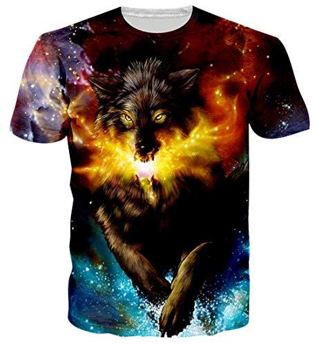 Spreadhoodie Unisex 3D Lobo Impreso Camisetas Verano