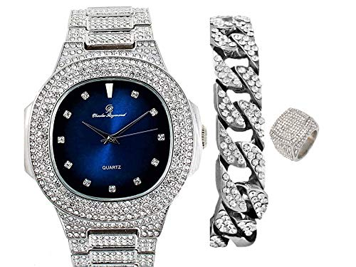 Bling-ed Out Oblong Case Silver Tone Mens PP Look Watch with Royal Blue...