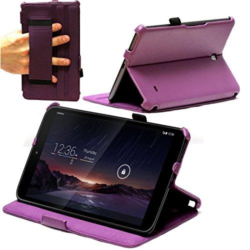 Navitech Lila Bycast Leder Multi Stand Case/Cover/Hülle mit Handschlaufe für das Vodafone Smart Tab 4G (Nicht passend für das WiFi Model)