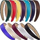 12 Stück Harte Stirnbänder Satin Stirnbänder 1 Zoll Stirnbänder Rutschfeste