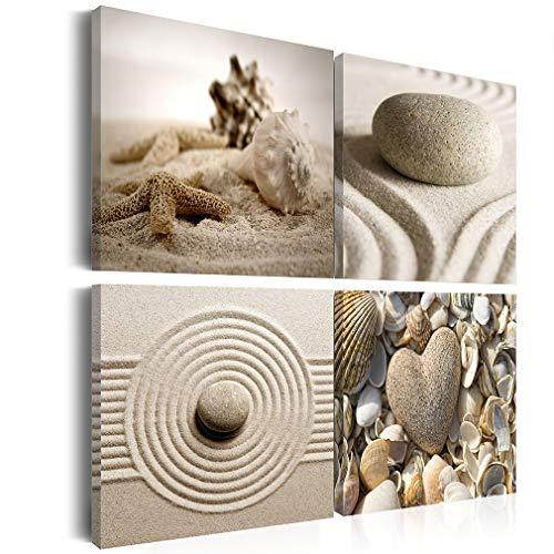 decomonkey Bilder Steine Spa 40x40 cm 4 Teilig Leinwandbilder Bild auf Leinwand Vlies Wandbild Kunstdruck Wanddeko Wand Wohnzimmer Wanddekoration Deko Zen Natur Sand