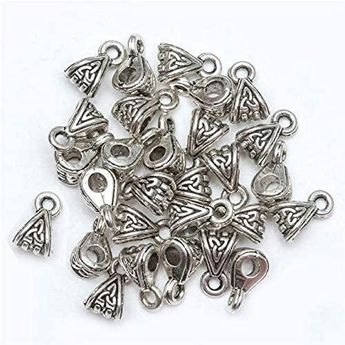 LiuliuBull 50 unids/Bolsa de Bolsas Antiguo Plata Tibetano Beads Charms Big Hole Cup En Forma de joyería Fabricación de DIY Craft Big Hole Charm Cap Conectores (Color : H0458)