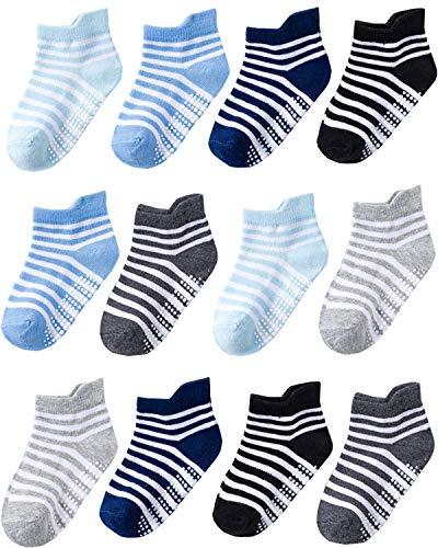 HuTuHu 12 Paar Baby Mädchen Jungen Anti Rutsch Socken Säugling Neugeborenes Baumwolle Socken Kleinkind Rutschfest Grip Knöchelsocken (12 Paare Jungenstreifen, 1-3 Jahre)