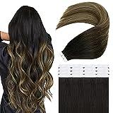 Easyouth Ombre Extensiones Adhesivas Tape in Hair Extensiones 22pulgadas 50g Color 1B/6/27 Mezcla Off Black con Honey Blonde Skin Weft Hair Extensions