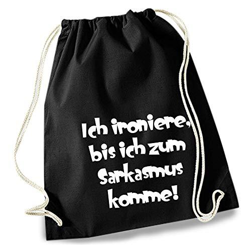 HAPPY FREAKS Turnbeutel/Stoff-Rucksack 'Ich ironiere' - Unisex-Rucksack für Konzert, Schule, Freizeit und Einkauf