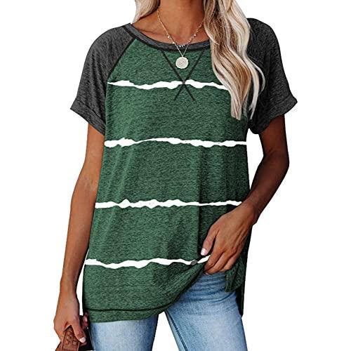 Camiseta Holgada Informal Holgada con Cuello Redondo y Manga Corta de Color sólido para Mujer de Primavera y Verano