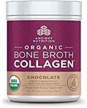 Ancient Nutrition Organic Bone Broth Collagen, Chocolate Flavor, 30 Servings Size - Organic Protein Powder Loaded with Bone Broth Co-Factors, 10g of Type II Collagen Per Serving