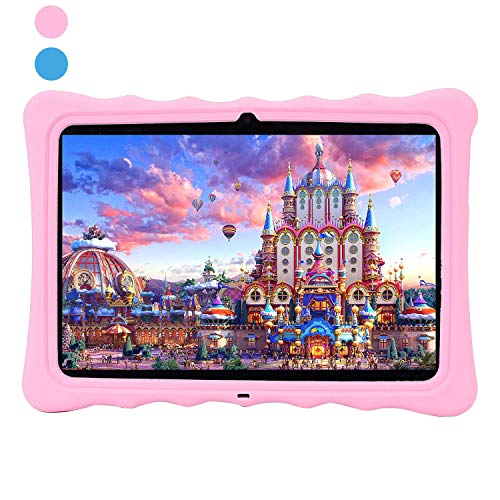 Kids Tablet PC, Veidoo 10.1' Android WiFi Tablet with Silicone Case, 1920 x 1200 FHD 1080P IPS Screen, 2GB Ram, 16GB ROM, Premium Parent Control Pre-Installed Educational APP, Ideal Gifts(Pink)