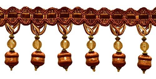 Elegant 3 inch Long Brown, Light Gold Beaded Tassel Fringe Style# BFH3 -...