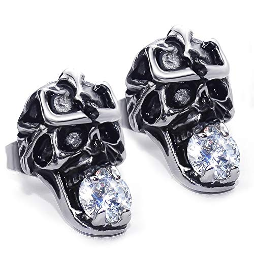 Titanium Skull Earrings For Men Or Women in Tarnished Silver Finish with Cubic Zirconia Stone