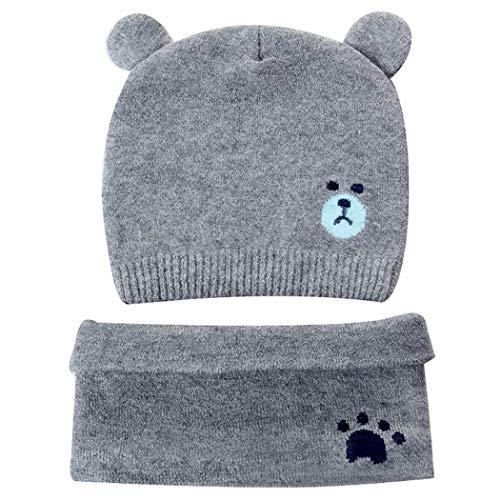 LLMZ Baby Mütze Winter warme Hüte Schals Set Beanie Mütze Weich Baumwolle Babymützen Gestrickter Mütze, für Neugeborene Mädchen Jungen Säuglings Kinder 0-12 Monate Grau