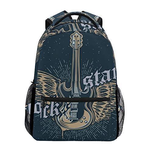 Ahomy Schulrucksack Buchtasche für Teenager Mädchen Jungen Rock Star Gitarre Reiserucksack Tasche Wandertasche für Damen Herren