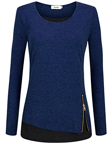 Kormei Donna Manica Lunga Patchwork Faux Twinset 2 in 1 Contrasto Colore T-shirt Top Camicetta Blu e nero. M