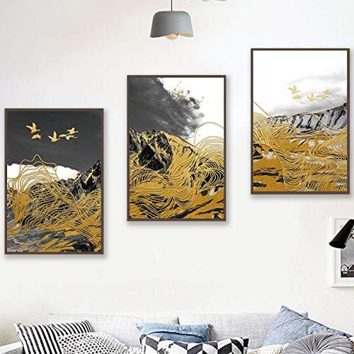 Poster astratto con uccellino e linea montagna in bianco e nero, 50 x 70 x 3 cm