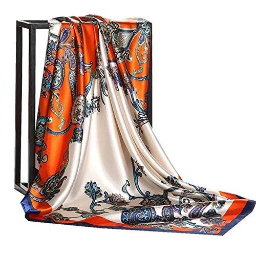 PINGGUO Foulard tendance 2021 en satin de soie pour femme - 90 x 90 cm