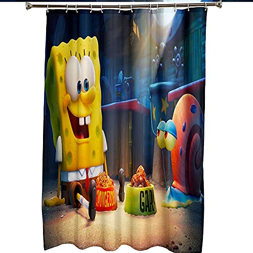Duschvorhang mit 12 Haken, Spongebob 3D Digital Gedruckte Blickdicht Duschvorhang, Schimmelresistente Duschvorhang für Bad, 120x180cm