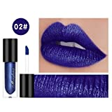 Shiny Lip Gloss Highlighter Glitter Starry Liquide à lèvres - Bleu océan, Gem Blue, Vin rouge, Brown citrouille