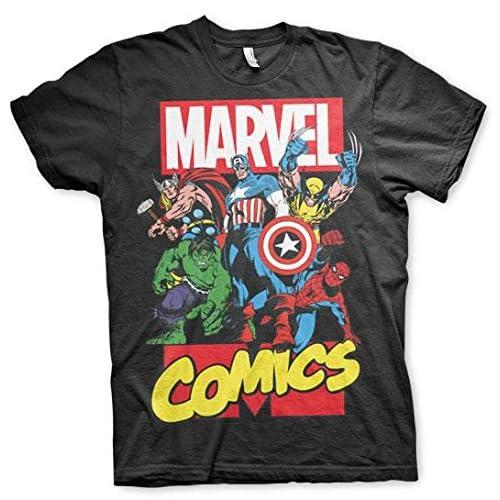 Marvel Uomo Officionalmente Licenziato Uomo Comics Superheroes T-Shirt Nera