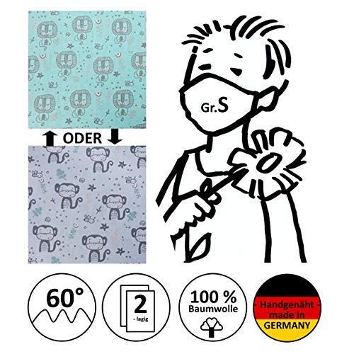 Mund- und Nasenmaske, Kinder-Maske, Alltagsmaske, Behelfsmundschutz, Gesichtsmaske - Für KINDER Gr. S - handgenäht in Deutschland
