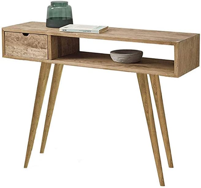 mueble recibidor industrial con patas de madera