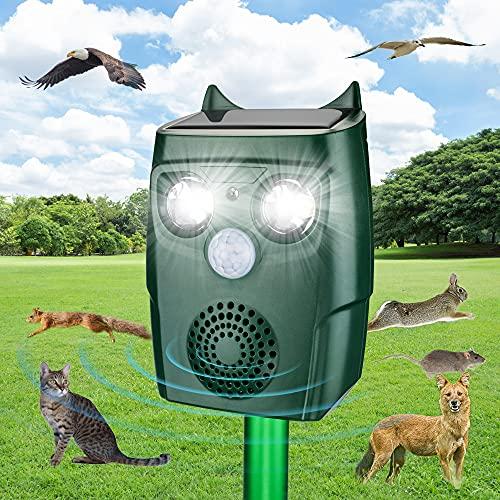 ULTPEAK Katzenschreck für Garten, Katzenschreck Ultraschall Solar wasserdichte Tiervertreiber katzenschreck für Katzen, Hunde, Vögel, Mäuse 3 Modus einstellbar