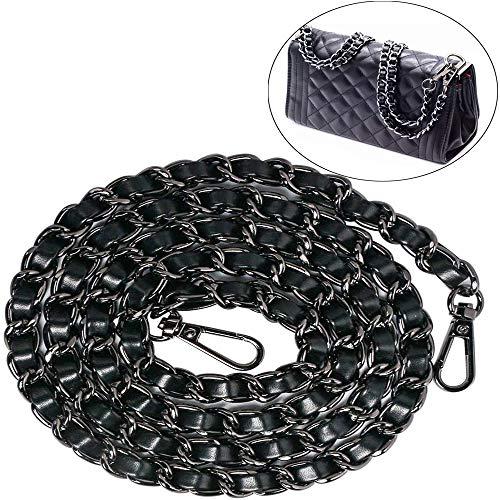 Xinlie Cadenas de Metal Correas de Hombro DIY Bolso de Mano Cadena para Bolso Cadenas para Bolsos de Metal Correas de Hombro Cadena de Reemplazo con Hebillas para Bolso de Hombro Cruz Cuerpo (Negro)