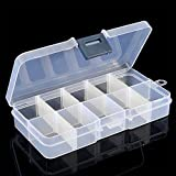 display08 - Caja de almacenaje de plástico transparente con 10 compartimentos,...
