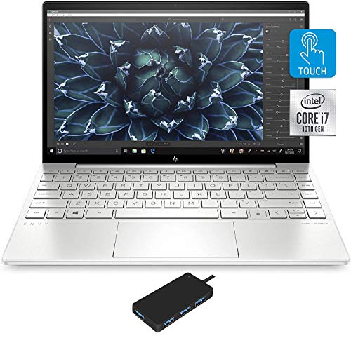 HP Envy 13t-ba000 Home and Business Laptop (Intel i7-1065G7 4-Core, 8GB RAM, 1TB m.2 SATA SSD, Intel Iris Plus, 13.3' Full HD (1920x1080), Fingerprint, WiFi, Bluetooth, Win 10 Pro) with USB Hub