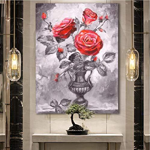 Cczxfcc met de hand getekende roos met bladeren in vaas bloemen muurkunst schilderijen voor de woonkamer canvas schilderij Home Decor 50 x 70 cm, frame.