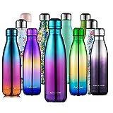 CMXING Botella De Agua 500 mL & 750 mL de Doble Pared con Aislamiento de Botella de Agua de Acero Inoxidable(500ML, Colorido Verde)