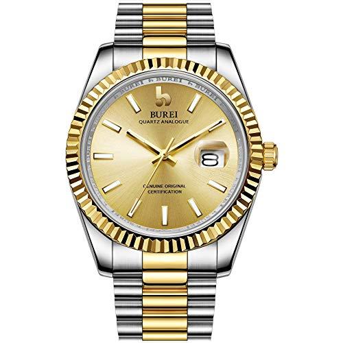 BUREI Relojes Hombres Reloj de Cintura de Cuarzo analógico Fecha Calendario con Banda de Acero Inoxidable …