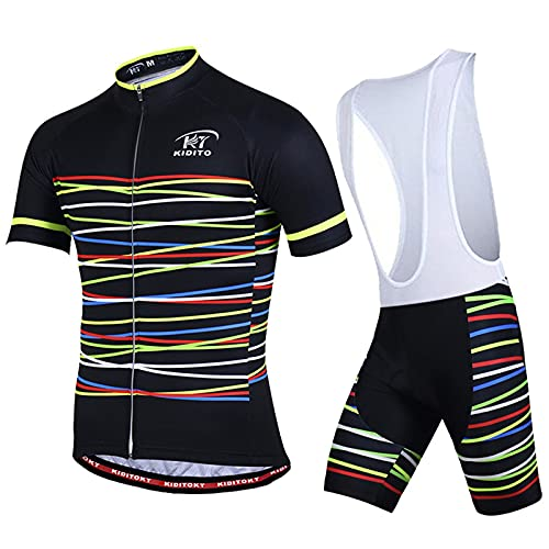 AdirMi Set di maglia da ciclismo da uomo, ad asciugatura rapida, elasticizzata, traspirante, a maniche corte con chiusura lampo e pantaloni con imbottitura 3D, con 3 tasche, A,3XL