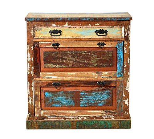Sit Möbel Riverboat 9162-98 Schuhschrank, 2 Klappen, 1 Schublade, recyceltes Altholz, bunt lackiert, 85 x 40 x 90 cm