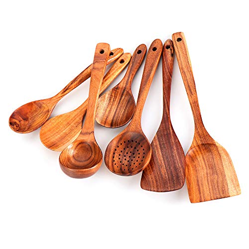 Set di 7 spatole in legno di teak naturale utensili da cucina cucchiaio in legno
