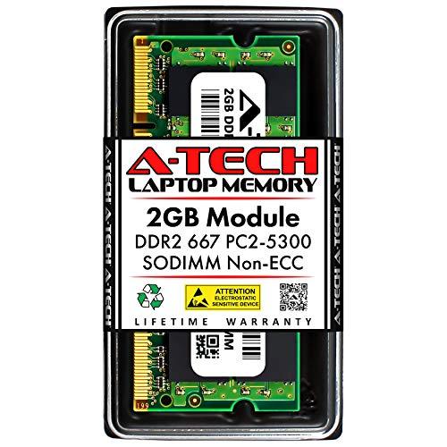 A-Tech 2GB DDR2 667MHz SODIMM PC2-5300 1.8V CL5 200-Pin Non-ECC Unbuffered Laptop RAM Memory Upgrade Module