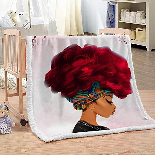 Niña Africana Manta De Lujo Vellón De 130X150cm Manta De Tiro Impresa 3D Fondo De Pelo Rojo Rosamanta para Cama Sofá Ligera para La Cama Y El Sofá Manta Apto para Adultos Y Niños