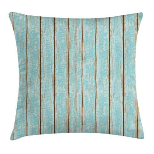 Holzdruck Dekokissen Kissenbezug, altmodische verwitterte rustikale Planken Sommer Cottage Strand Küste Thema, blau tan