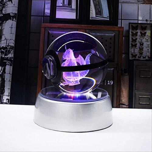 XIAOTAIDENG Night Light 3D Crystal Ball Led Lamp for Pokemon Series Pikachu 5cm Desktop Decoration Light Glass Ball Dragonite