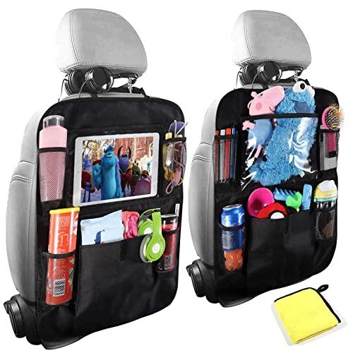 Organizadores de coche, organizador de asiento trasero de coche para niños, protector de asiento de coche con soporte para tableta de 10 pulgadas, funda para asiento trasero con 6 bolsillos de almacenamiento, accesorios de coche para viajes familiares por carretera (paquete de 2)