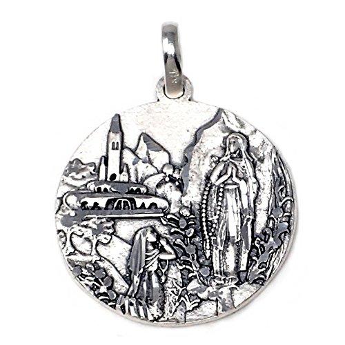 Medalla plata Ley 925m virgen Lourdes [AB4913GR] - Personalizable - GRABACIÓN INCLUIDA EN EL PRECIO