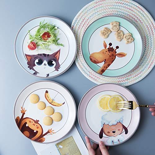 CLX Set 4 Zimmer Kinder Geschirr, Mealtime Teller, kleine Gerichte, Teller für Kinder, Tierthema,Plate