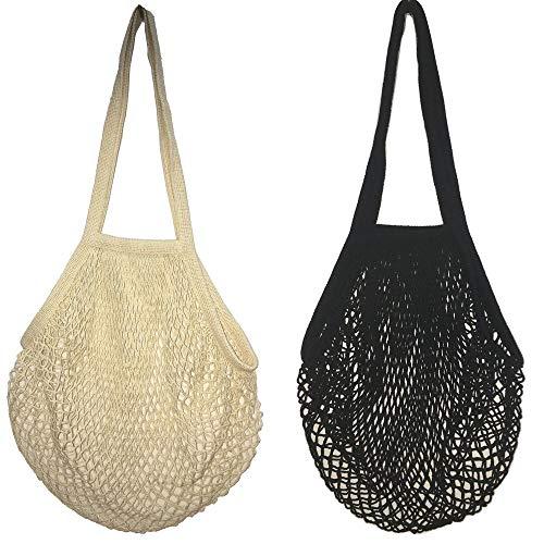 Bolsas de Malla Reutilizables,2 Pack Bolsa de Compra de Red de Algodón Grande Malla Compra de Malla con Asa Larga para Frutas Verduras de Mercado Blanco y Negro