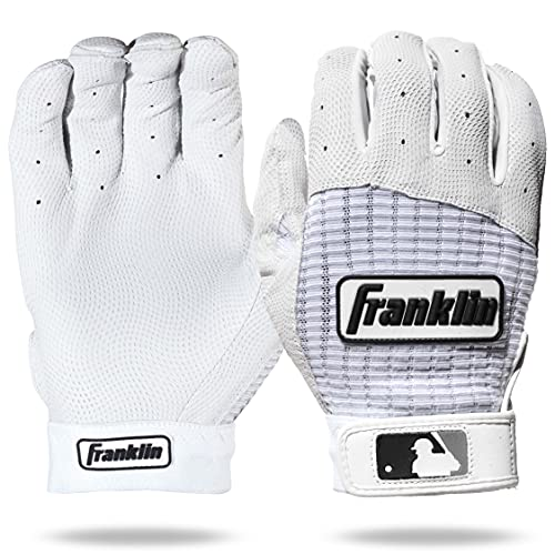 Franklin Sports Adult MLB Pro Classic Batting Gloves, Adult Large, Pair, Pearl/White