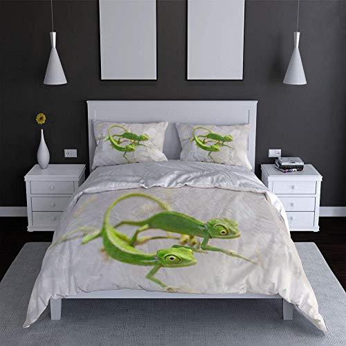 Gzmt Bettwäsche 140x200 cm Bettbezug Set mit Gecko Muster, 3 teilig weiche Flauschige Bettbezüge mit Reißverschluss und 2 Kissenbezüge 80 x 80 cm